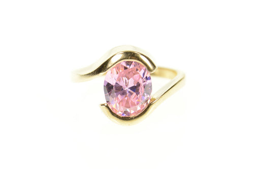 10K Oval Pink Cubic Zirconia Solitaire Bypass Ring Size 6.5 Yellow Gold
