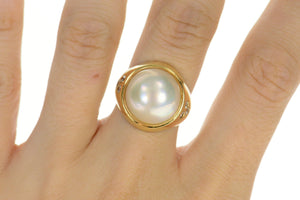 14K Round Pearl Diamond Graduated Statement Ring Size 7.75 Yellow Gold