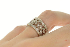 14K 0.96 Ctw Ornate Diamond Floral Statement Band Ring Size 6.5 White Gold