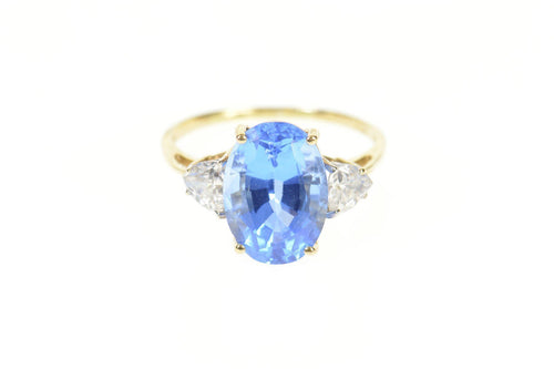 10K Oval Three Stone Syn. Sapphire Trillion CZ Ring Size 10.25 Yellow Gold