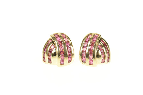 14K Ruby Channel Criss Cross Statement Stud Earrings Yellow Gold