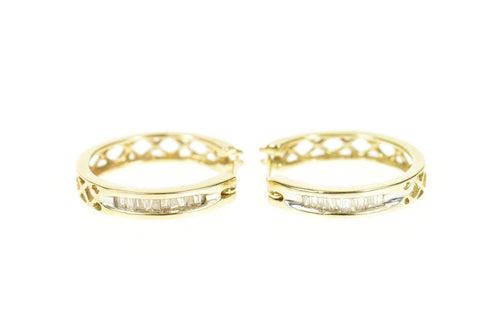 10K 0.40 Ctw Classic Baguette Diamond Hoop Earrings Yellow Gold