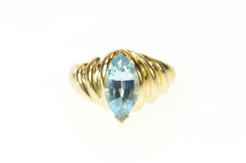 14K Marquise Blue Topaz Ornate Cocktail Ring Size 6.5 Yellow Gold
