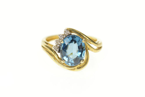 14K Blue Topaz Diamond Accent Orante Bypass Ring Size 6 Yellow Gold