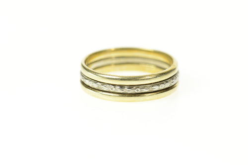 14K Two Tone Art Deco Classic Wedding Band Ring Size 5 Yellow Gold