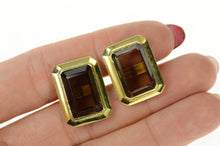 Load image into Gallery viewer, 14K Emerald Cut Smoky Quartz Retro Cuff Links Yellow Gold
