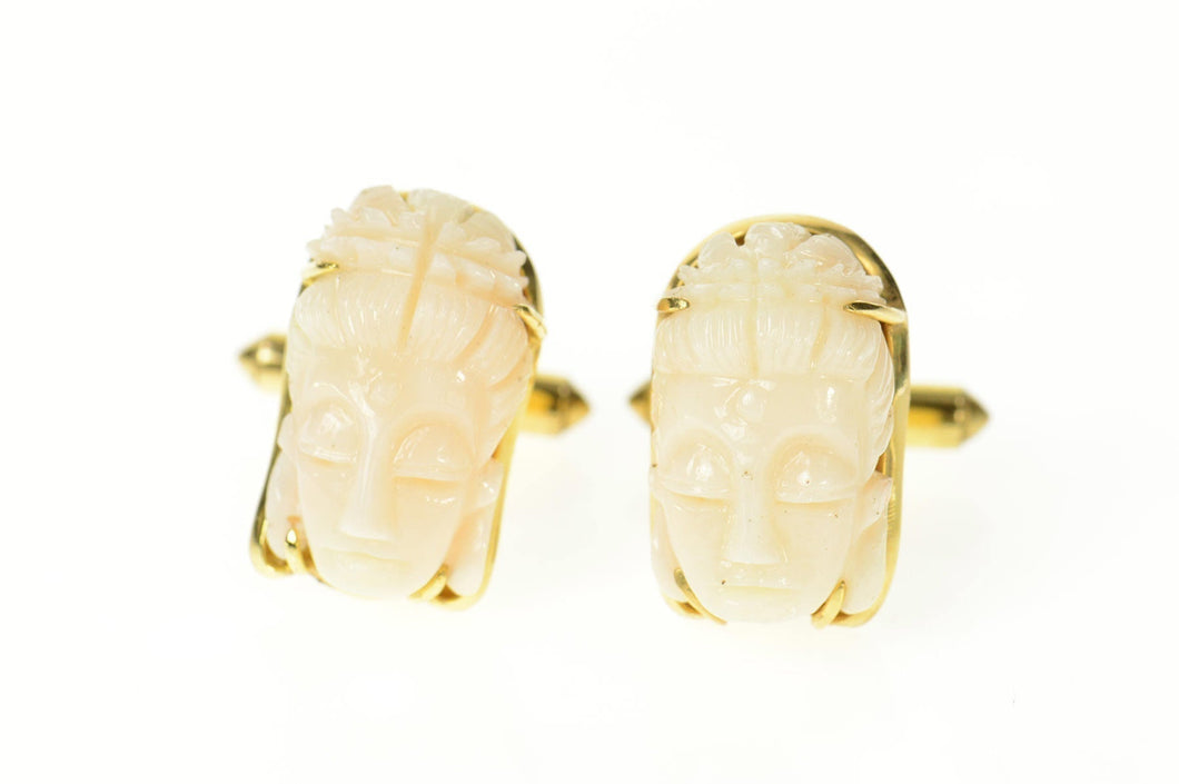 14K Ornate Carved Light Pink Coral Buddha Head Cuff Links Yellow Gold