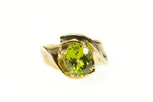 10K Oval Peridot Classic Simple Bypass Statement Ring Size 6.75 Yellow Gold