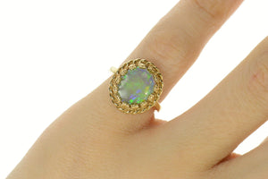 14K Natural Opal Retro Statement Cocktail Ring Size 4.25 Yellow Gold