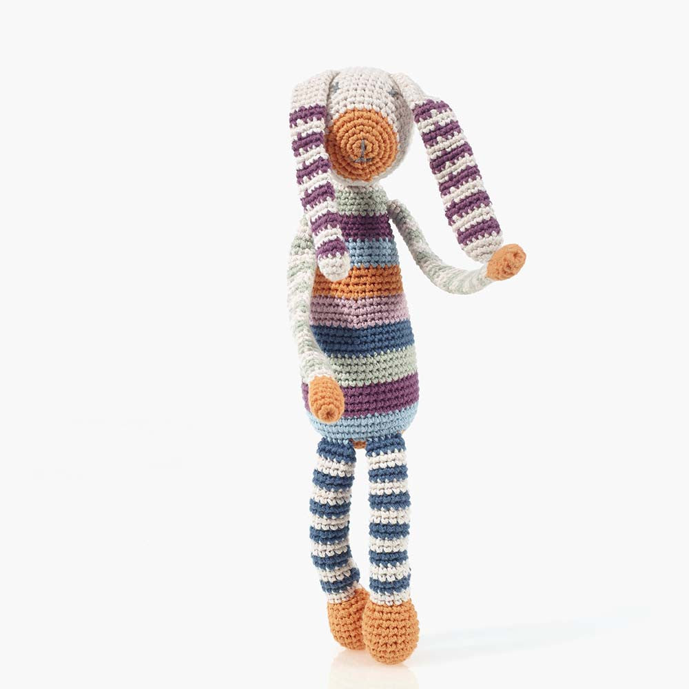 Organic Striped Bunny Rattle - Beguiled Child  - 1