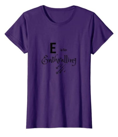 t-shirt names that start with E entralling alphabet blue grey orange yellow green pink purple