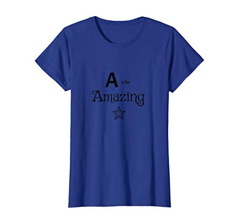 t-shirt amazing star alphabet blue grey orange yellow green pink purple