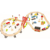 Childrens Wooden Train Track Set Railway Puzzle Slot Transit Wood Rail Transit Wood Train Railway Toy Trains For Kids
