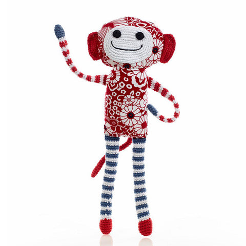 Hand Knitted Red Flower Monkey Toy