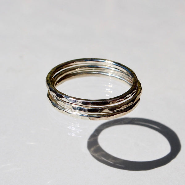 Silver Stackers - set of 3 hammered stackable rings