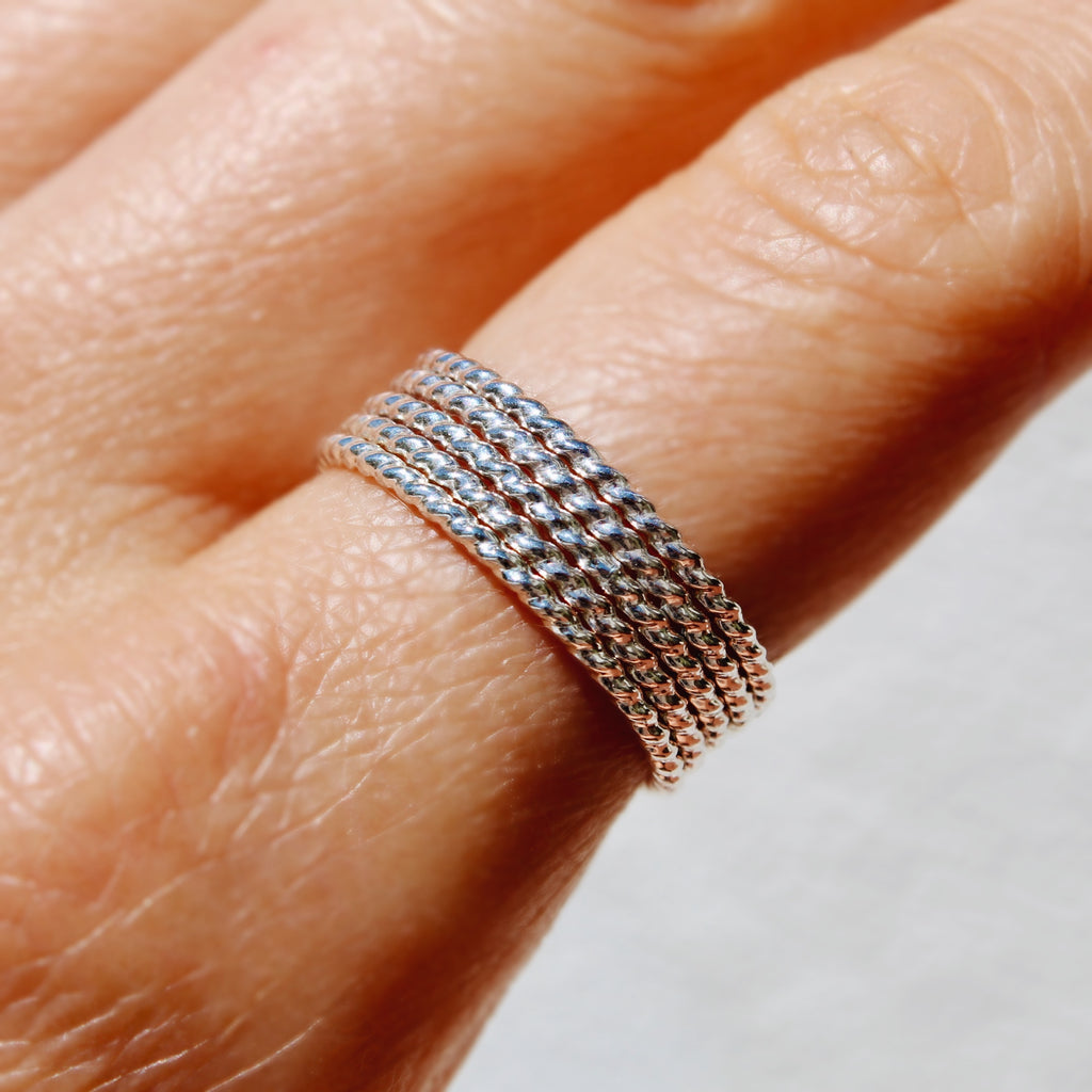 Silver Twist Stackers - set of 5 twisted stackable rings