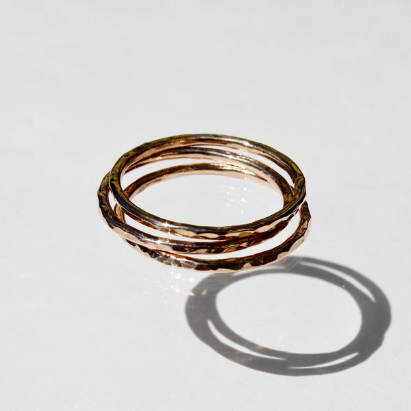 Gold Stackers - set of 3 hammered stackable rings