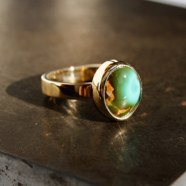 14k Gold + Royston Turquoise Ring
