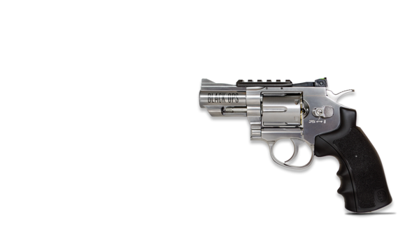 Exterminator 2.5 Inch Black Ops Revolver - Chrome Finish - Full Metal CO2 BB/Pellet Gun - Shoot .177 BBs or Pellets