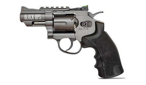 Exterminator 2.5 Inch Black Ops Revolver - Gun Metal Finish - Full Metal CO2 BB/Pellet Gun - Shoot .177 BBs or Pellets