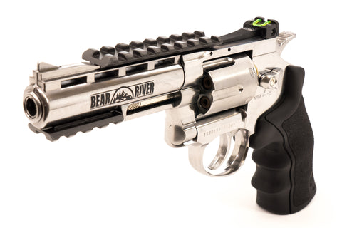 Refurbished Bear River Exterminator 4 Inch  Revolver - Chrome Finish - Full Metal CO2 BB/Pellet Gun - Shoot .177 BBs or Pellets