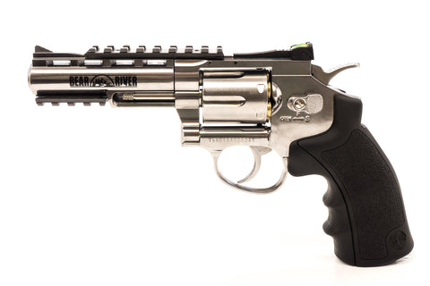 Bear River Exterminator 4 Inch Revolver - Chrome Finish - Full Metal CO2 BB/Pellet Gun - Shoot .177 BBs or Pellets Weight: 0.0 lb