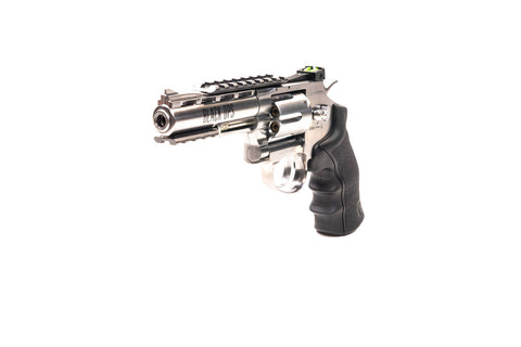 Exterminator 4 Inch Revolver - Chrome Finish - Full Metal CO2 BB/Pellet Gun - Shoot .177 BBs or Pellets - Refurb