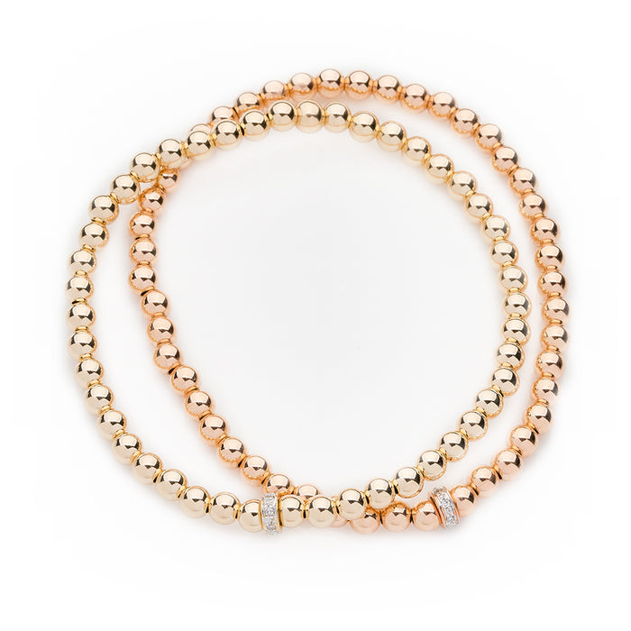 Pavé Diamond Rondelle Bracelet in Yellow Gold
