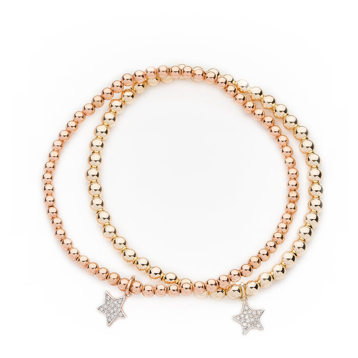 Pavé Diamond Star Bracelet in Yellow Gold