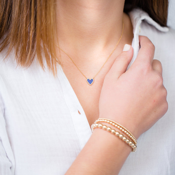 Lapis + Pavé Diamond Heart Necklace in 14k Yellow Gold