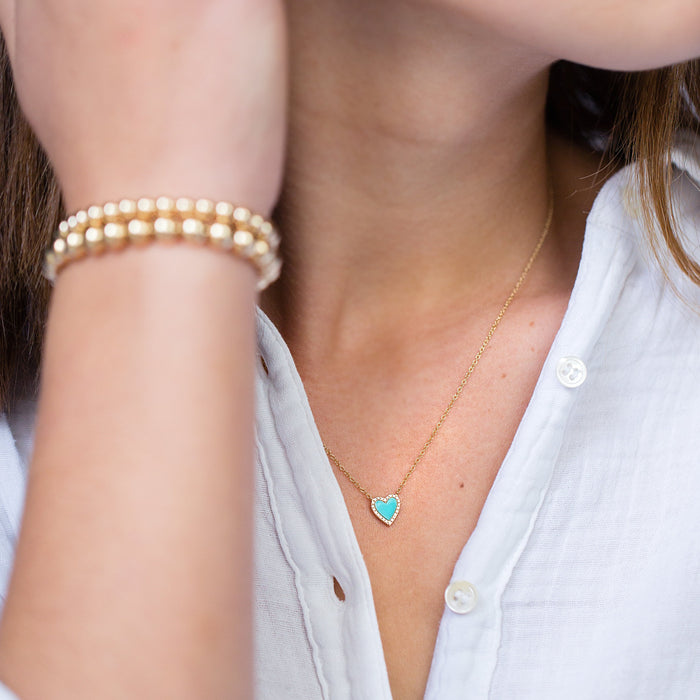 Turquoise + Pavé Diamond Heart Necklace in 14k Yellow Gold