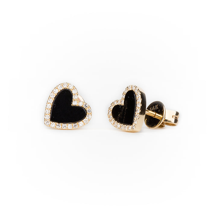 Onyx Diamond Heart Earrings in 14k Yellow Gold