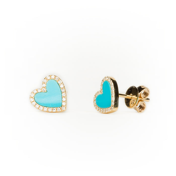 Turquoise Diamond Heart Earrings in 14k Yellow Gold