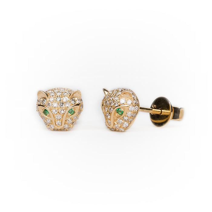 Panther Earrings in 14k Gold with Pavé Diamonds and Emerald Eyes