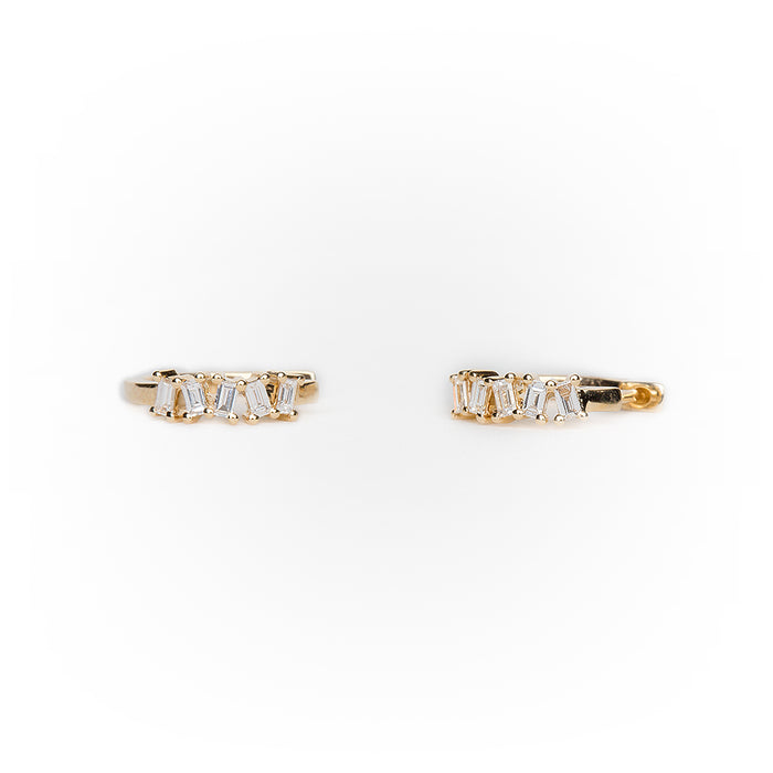 Diamond Baguette Huggie in 14k Yellow Gold
