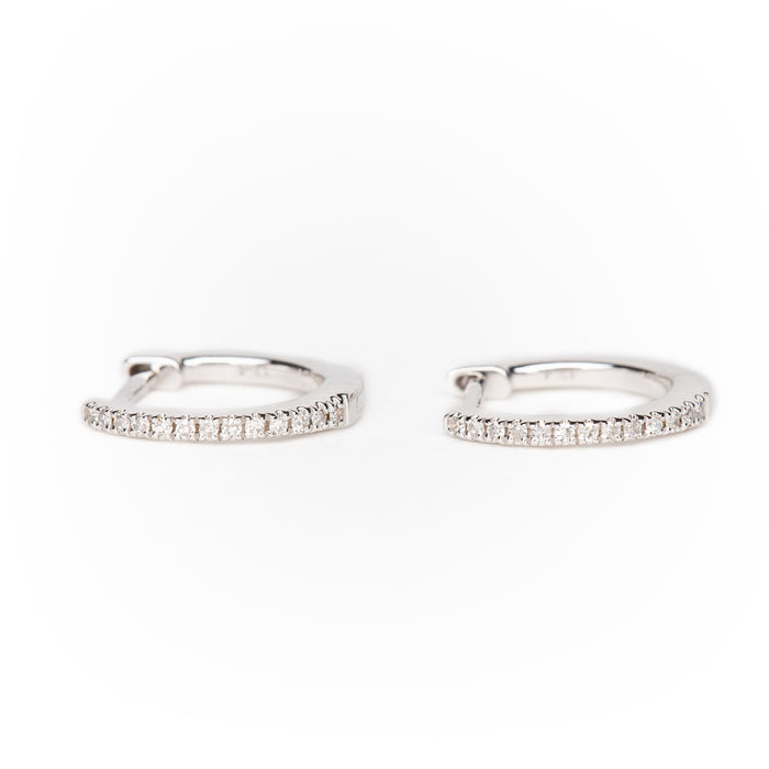 Pavé Diamond Classic Huggies in 14k White Gold