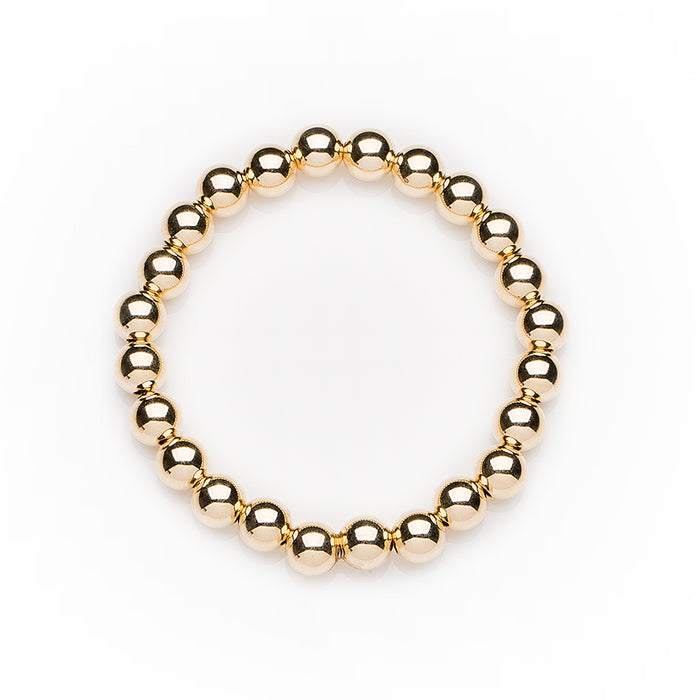 Classic Bracelet in 14k Yellow Gold Filled 7mm Beads