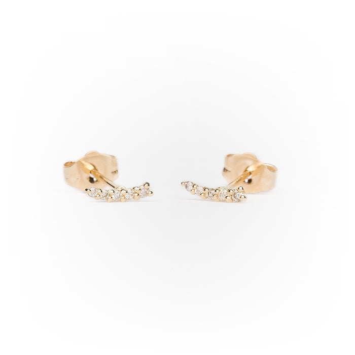 Pavé Diamond Mini Curve Earrings in 14k Yellow Gold