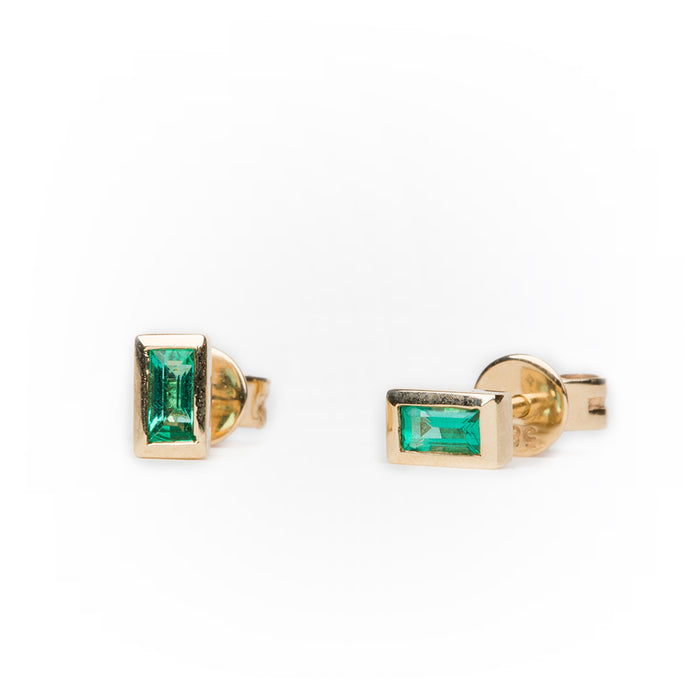 Emerald Baguette Earrings in 14k Yellow Gold