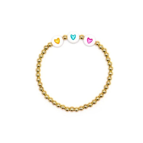 Child Three Heart Bead Bracelet, 14k Yellow Gold Filled