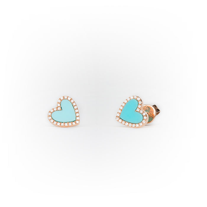 Turquoise Diamond Heart Earrings in 14k Rose Gold
