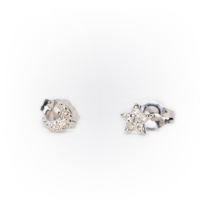 Mini Pavé Diamond Star + Moon Earrings