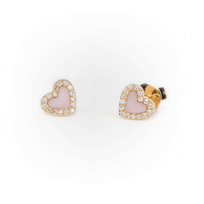 Mini Pink Mother of Pearl Diamond Heart Earrings in Yellow Gold