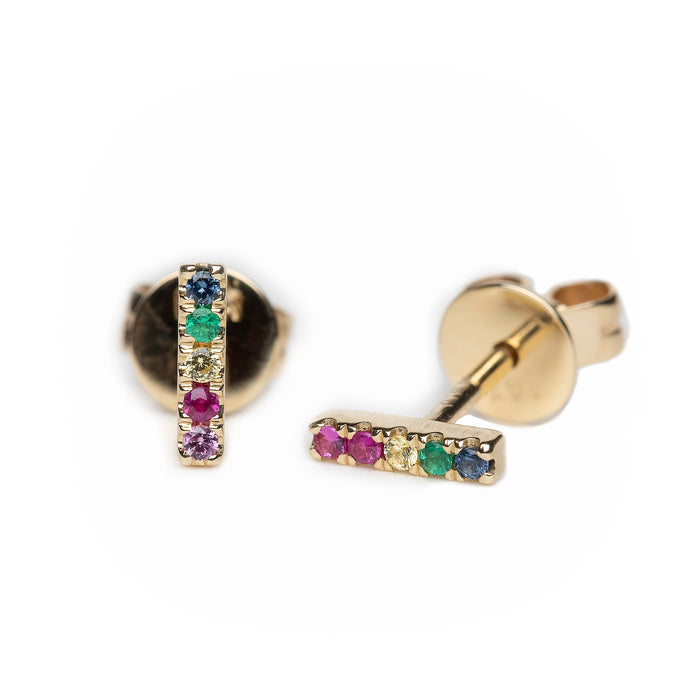 Rainbow Bar Studs in 14k Yellow Gold