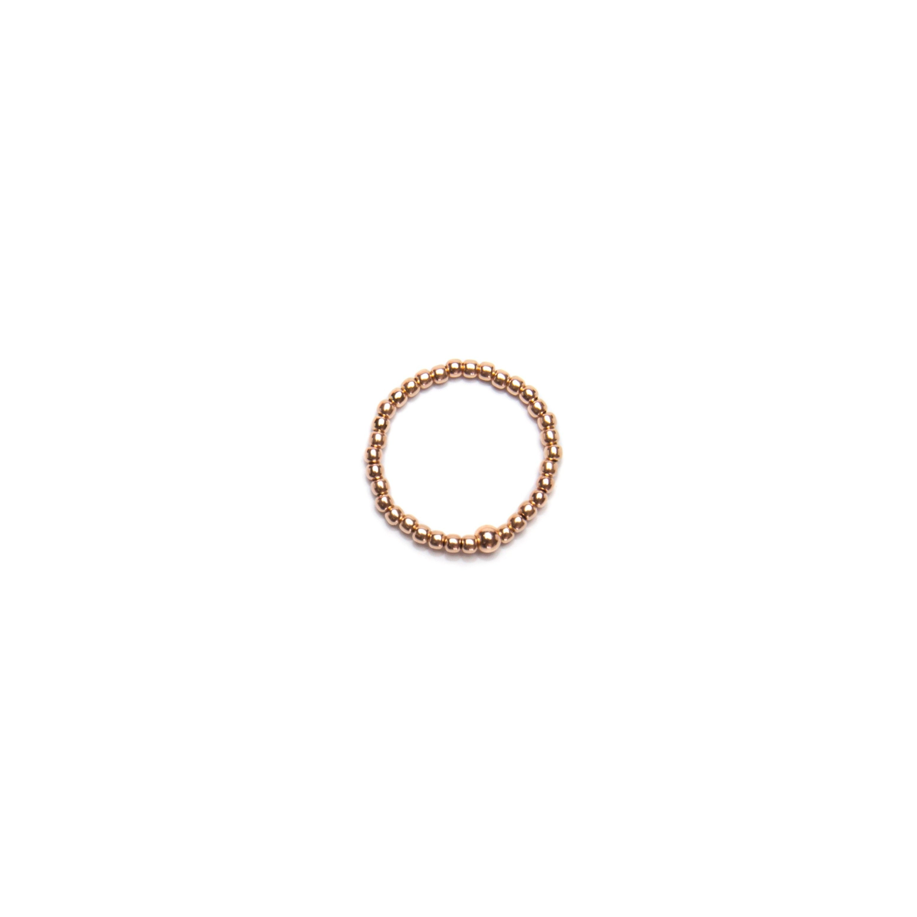14k Rose Gold Filled Ring, 2mm Beads