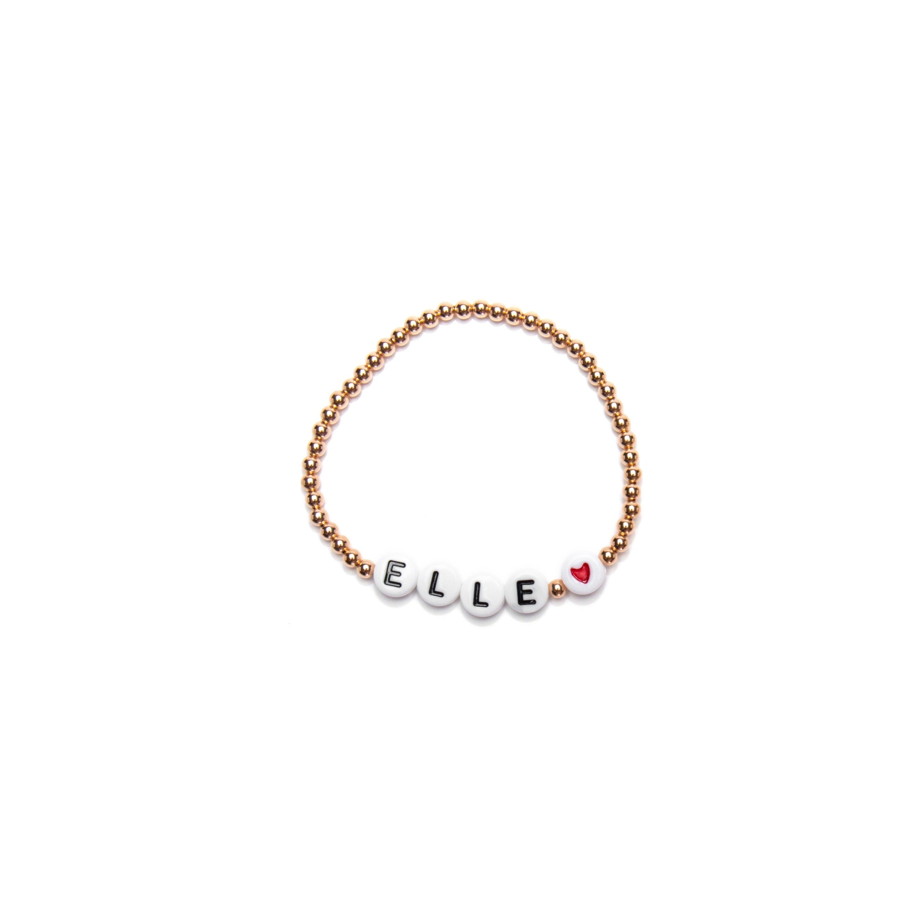 14k Rose Gold Filled Baby Bracelet with Name + Heart
