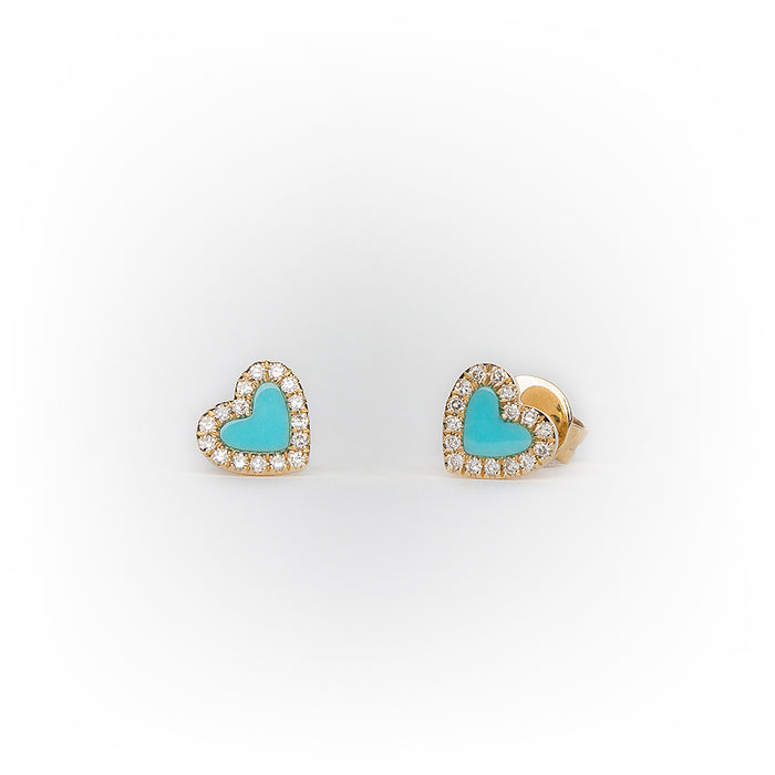 Mini Turquoise Diamond Heart Earrings in 14k Yellow Gold