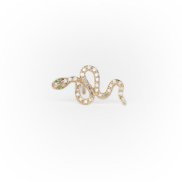 Snake Earring in Pavé Diamond with Emerald Eyes