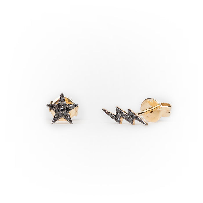 Black Diamond Star + Lightning Earrings in 14k Yellow Gold