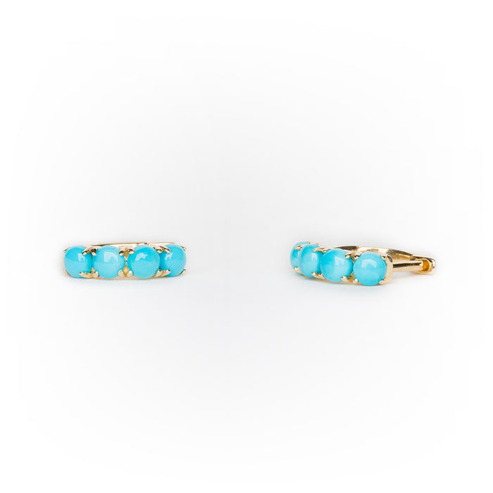 Turquoise Huggie in 14k Yellow Gold